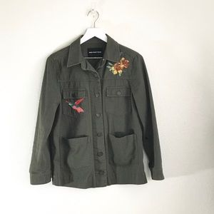 Who What Where Olive Green Embroidered Jacket